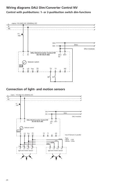 L N PE Wiring diagrams Dali Lighting Wiring Diagrams on
