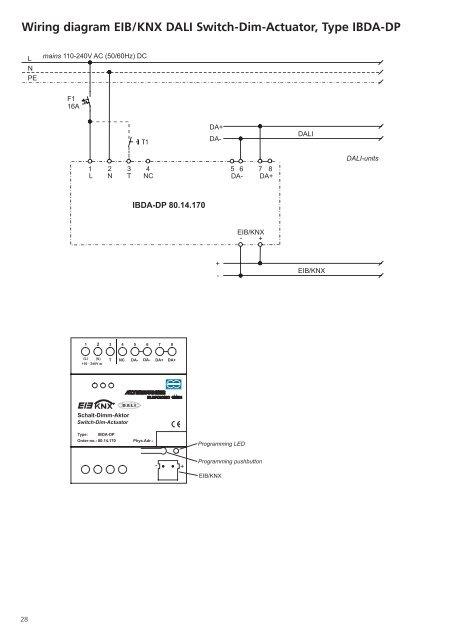 Wiring diagram EIB/KNX on