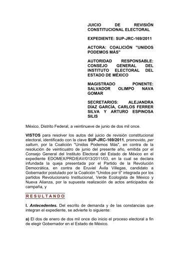 SUP-JRC-169/2011. - Instituto Electoral del Distrito Federal