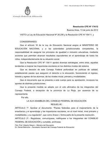 Res CFE 174/12 - Minisitios del Ministerio de Educación