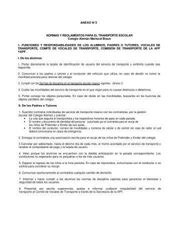 Normas y Reglamentos para el Transporte Escolar