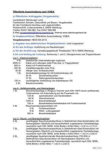 Öffentliche Ausschreibung nach VOB/A a ... - Altenburger Land