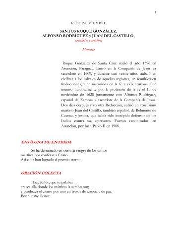 Ss. Roque González, Alfonso Rodríguez y Juan del Castillo