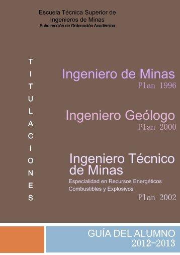 Descarga la Guía del Alumno 2012-2013 - ETSI de Minas de la ...
