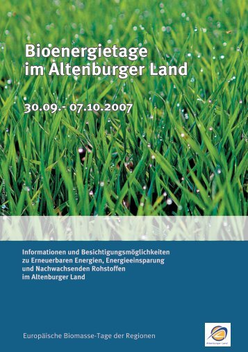 Bioenergietage im Altenburger Land 30.09.- 07.10.2007