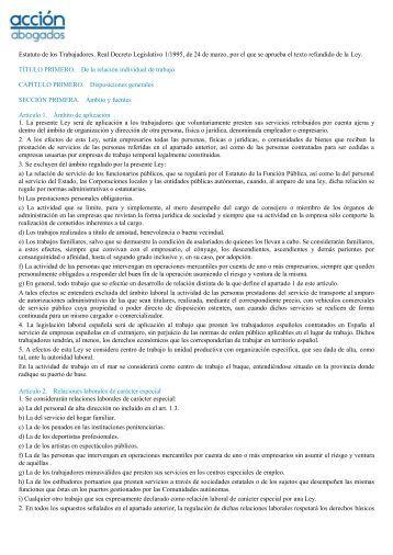 Estatuto de los Trabajadores. Real Decreto ... - Acción Abogados