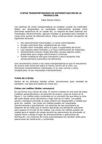 CINTAS TRANSPORTADORAS EN AUTOMATIZACIÓN DE LA ...