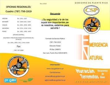 información sobre Emergencia Natural - Portal Gobierno.PR