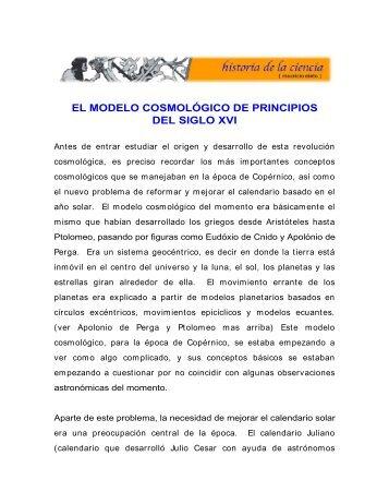 el modelo cosmológico de principios del siglo xvi - Historia de la ...