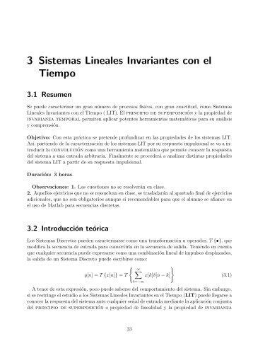 3 Sistemas Lineales Invariantes con el Tiempo