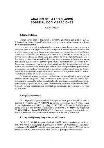 análisis de la legislación sobre ruido y vibraciones - Red Proteger