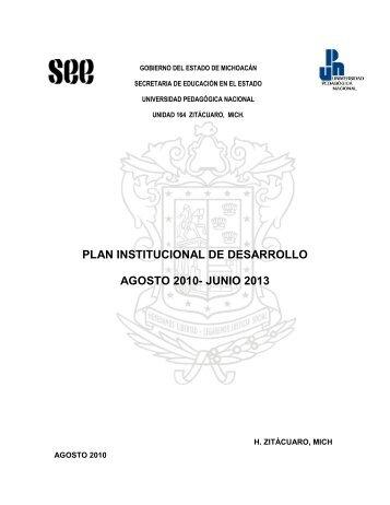 Plan institucional de desarrollo 2010-2013. - UPN 164