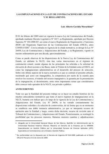las impugnaciones en la ley de contrataciones del estado y su ...