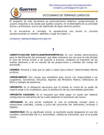 DICCIONARIO DE TÉRMINOS JURÍDICOS - Estado de Guerrero