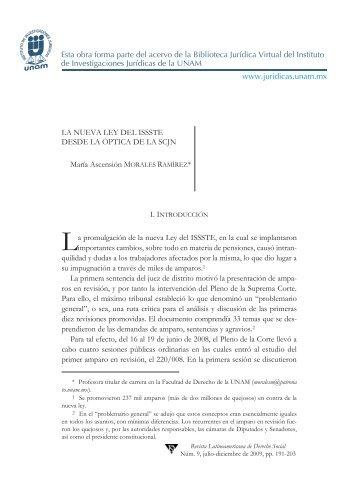 LA NUEVA LEY DEL ISSSTE DESDE LA ÓPTICA DE LA ... - UNAM