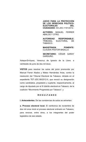 sx-jdc-1191/2012. actores: manuel ferrer abalos - Tribunal Electoral ...