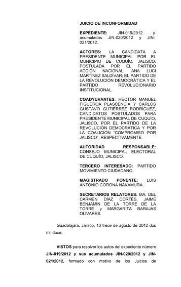 JIN-019/2012 y acumulados JIN-020/2012 y JIN- 021/2012 ...