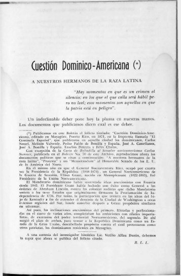 Cuestión Dominico -Americana - BAGN