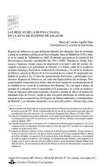 Las reglas de la buena casada en la Silva de Eugenio de Salazar