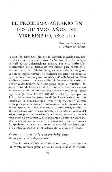 el problema agrario en los últimos años del virreinato, 1800-182.1