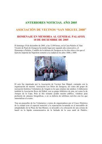 """AÑO - asociación cultural """"los sitios de zaragoza"""""""