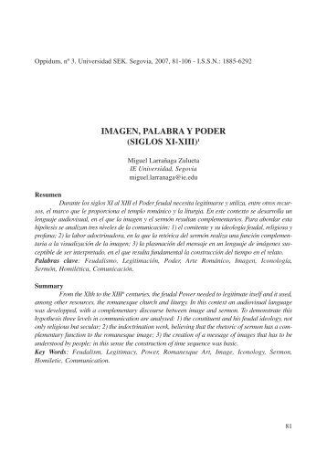 IMAGEN, PALABRA Y PODER (SIGLOS XI-XIII)1 - Oppidum