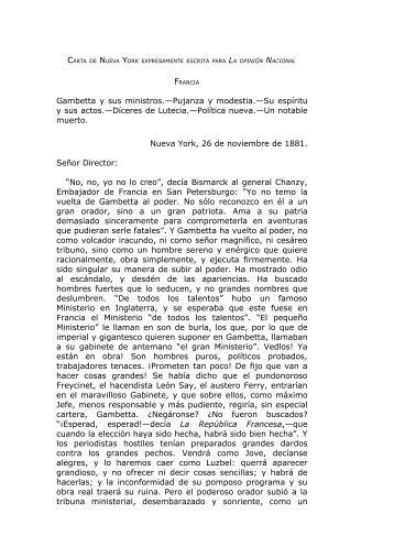 carta de nueva york expresamente escrita para la opinión nacional