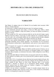 historia de la vida del emigrante francisco bruno mazza narración