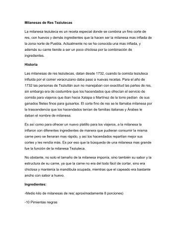 Milanesas de Res Teziutecas La milanesa teziuteca es un receta ...