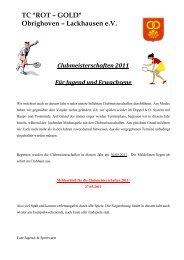 Clubmeisterschaften 2011 - RGO-Tennis.de