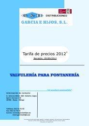 Tarifa de precios 2012* VALVULERÍA PARA FONTANERÍA
