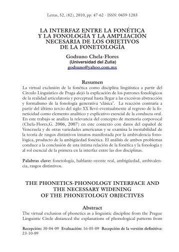 47 LA INTERFAZ ENTRE LA FONÉTICA Y LA FONOLOGÍA ... - SciELO