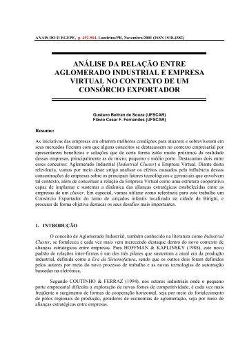 análise da relação entre aglomerado industrial e ... - Anegepe