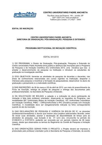 CENTRO UNIVERSITÁRIO PADRE ANCHIETA - Faculdades Padre ...