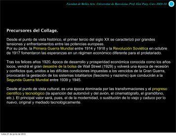historia del Collage - Universitat de Barcelona