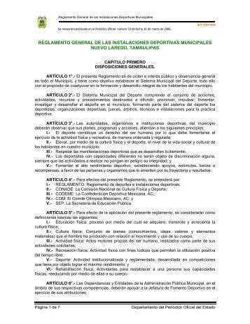 Reglamento General de las instalaciones deportivas municipales