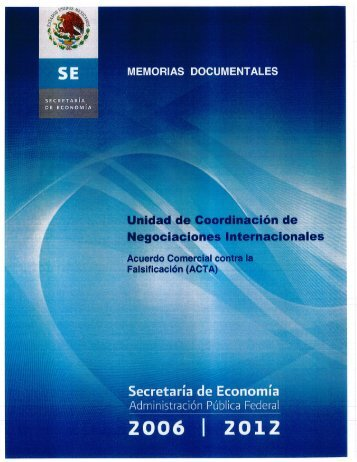 Acuerdo Comercial contra la Falsificación (ACTA) - Secretaría de ...