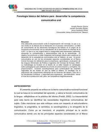 Fonología básica del italiano para desarrollar la competencia ...