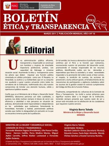 Editorial - Ministerio de la Mujer y Poblaciones Vulnerables