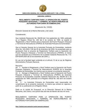 reglamento tarifario para la operación del puerto pesquero ...