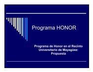Programa HONOR - UPRM