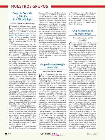 NUESTROS GRUPOS - Sociedad Española de Microbiología