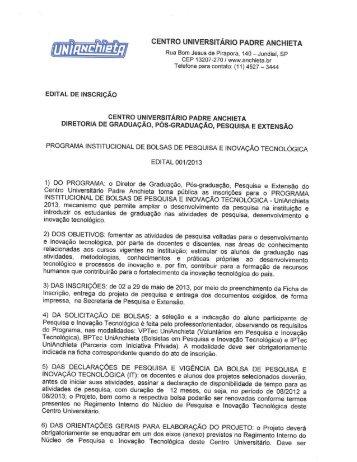 Edital Programa Institucional de IT 2012 - Faculdades Padre Anchieta