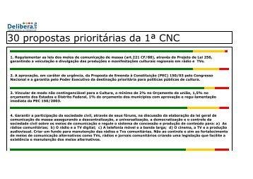 30 propostas prioritárias da 1ª CNC - Secretaria de Estado de ...