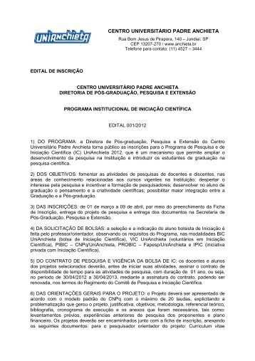 Edital Programa Institucional de IC 2012 - Faculdades Padre Anchieta