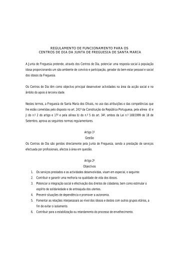REGULAMENTO DE FUNCIONAMENTO PARA OS CENTROS DE ...