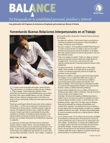 Fomentando Buenas Relaciones Interpersonales ... - Mutual of Omaha