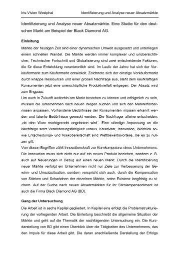 Identifizierung und Analyse neuer Absatzmärkte - RheinAhrCampus