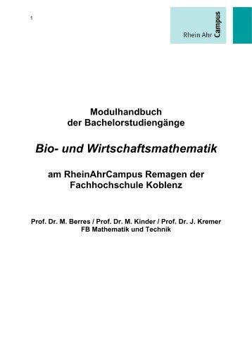 Bio- und Wirtschaftsmathematik - RheinAhrCampus