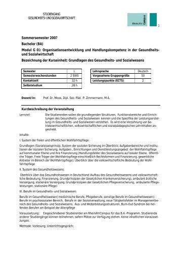 Grundlagen des Gesundheits- und Sozialwesens - RheinAhrCampus